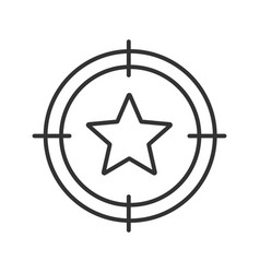 Aim on star linear icon vector