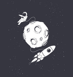 Astronaut with spaceship circling around moon vector