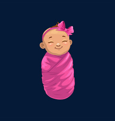 Baby girl in pink wrap isolated newborn child icon vector