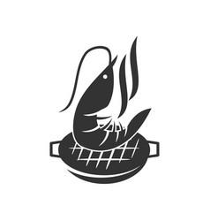 barbecue shrimp logo template badge design vector image
