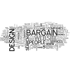 bargain web design services text word cloud vector image