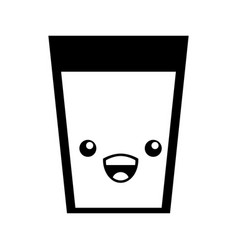 beverage glass kawaii character vector image