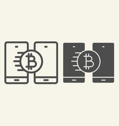 bitcoin transfer line and glyph icon crypto coin vector image