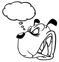 Black and white angry dog with thought bubble vector