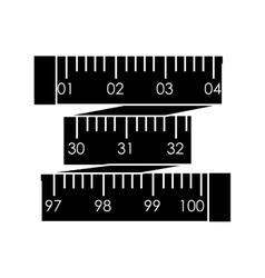 Black silhouette tape measure in inches vector