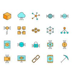 Blockchain cryptocurrency line icons set vector