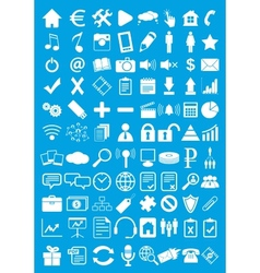 Blue webdesign flat icons set vector
