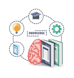 brain and books with knowledge learn and idea vector image