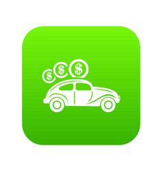 Car on credit icon green vector
