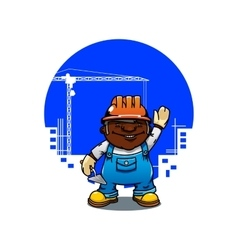 Cartoon bricklayer or builder with trowel vector image