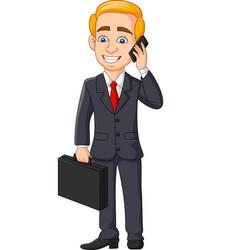 cartoon businessman talking on phone vector image