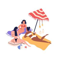 cartoon women friends sunbathing on beach in vector image