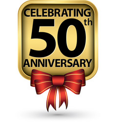 Celebrating 50th years anniversary gold label vector