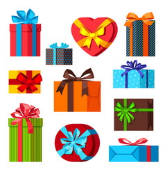 celebration icon set gift boxes vector image