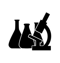 chemical lab test tube and microscope icon vector image