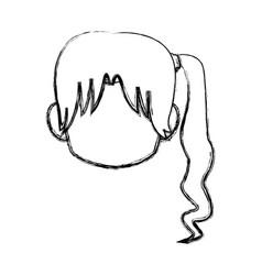 Chibi anime girl avatar contour default vector