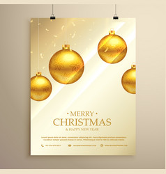 Christmas flyer brochure template with hanging vector