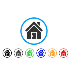 closed house door rounded icon vector image