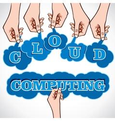 Cloud computing word in hand vector