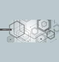 connected hexagon banner design vector image