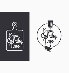 Cooking utensils set with vintage lettering on vector