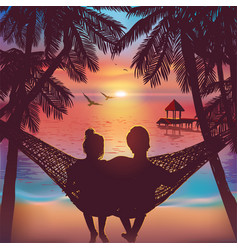 Couple in love at beach background on hammock vector