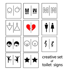 creative set of toilet signs or restroom signs vector image