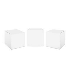 Cube box mockup white cardboard realistic vector
