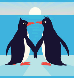 cute penguins in love family of birds holding vector image