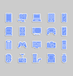Device patch sticker icons set vector