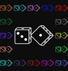 dices icon sign Lots of colorful symbols for your vector image
