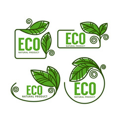 Doodle organic leaves emblems elements frames vector