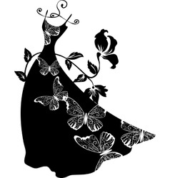 Elegant silhouette Beautiful woman with flowers vector