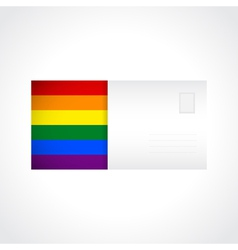 Envelope with rainbow flag card vector