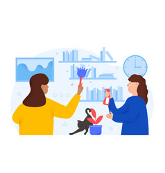 Family doing housework together spring cleaning vector