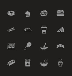 Fast food - flat icons vector