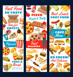Fast food pizza burger and fries delivery sevice vector