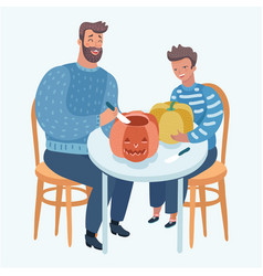 Father and child carve a pumpkin for halloween vector