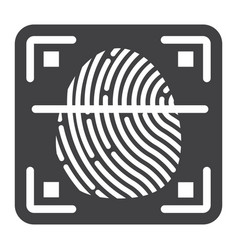 Fingerprint scanner solid icon id and security vector