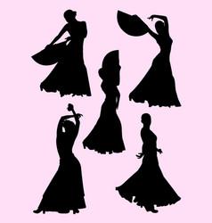 flamenco dance silhouette vector image
