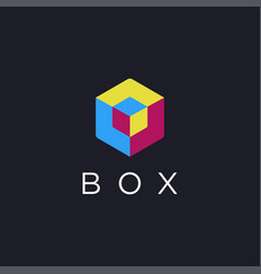 flat 3d box logo icon template on dark background vector image
