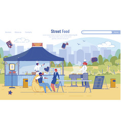 flat landing page offering street food service vector image
