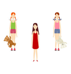 Flat young girls set isolated vector