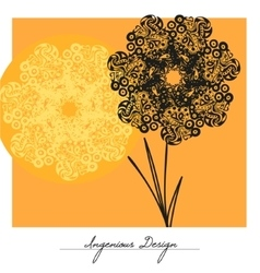 flowers over yellow background vector image