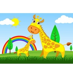 Giraffe in meadow vector