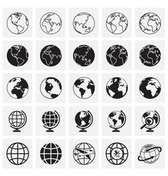 globe icons on squares background for graphic and vector image