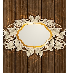 golden label and floral ornament vector image