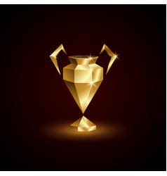 Golden low poly champions cup vector