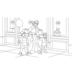 grandmother with grandchildren for a walk vector image