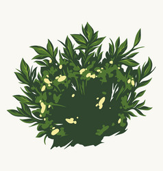 Green bush with flowers concept vector